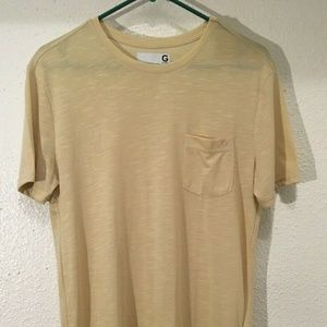 Guess Mens Casual Tan Short Sleeve Pocket Shirt